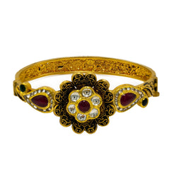 22K  Yellow Gold Bangle W/ Rubies, Emeralds, CZ Gems & Antique Finished Faceted Flower