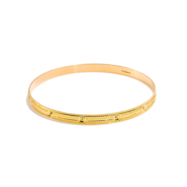 22K Yellow Gold Bangles Set of 6 W/ Textured Band & Smooth Drill Markings |  22K Yellow Gold Bangles Set of 6 W/ Textured Band & Smooth Drill Markings for women. This ra...