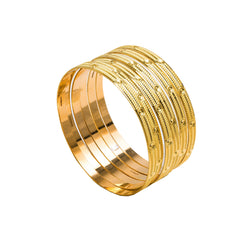 22K Yellow Gold Bangles Set of 6 W/ Textured Band & Smooth Drill Markings