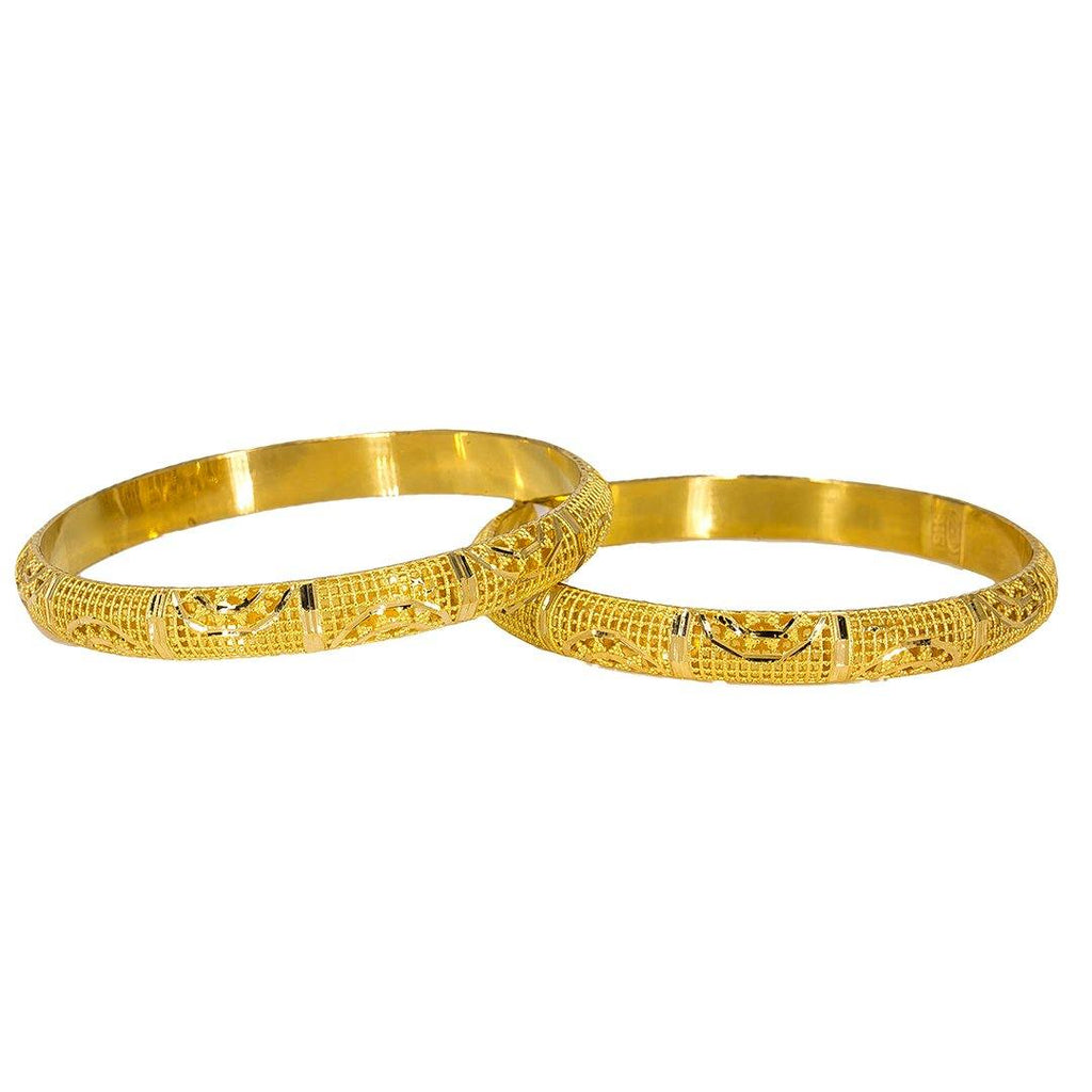 22K Yellow Gold Bangles Set of 2 W/ Detailed Hollow Domed Band, 30.2 gm | Add elegance and sophistication to any outfit with this set of two 22K bangles from Virani Jewele...