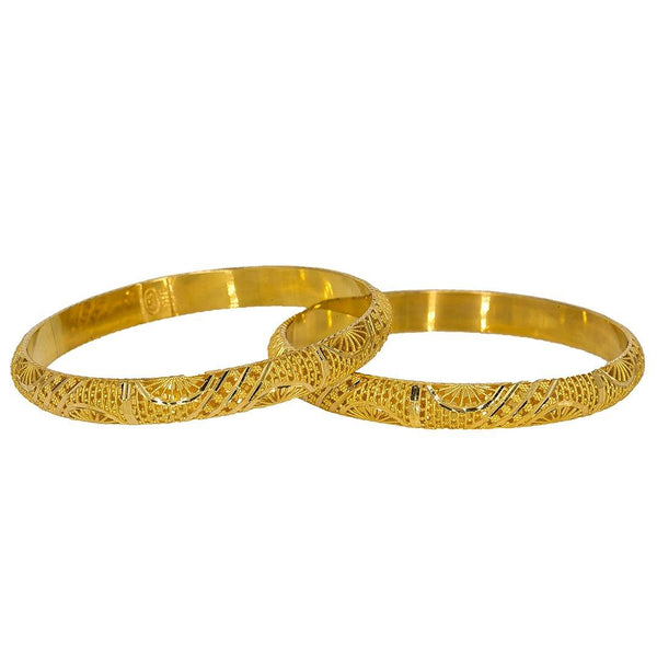 22K Yellow Gold Bangles Set of 2 W/ Detailed Hollow Dome, 30 gm | Create a bold, sophisticated outfit with this set of two 22K yellow gold bangles from Virani Jewe...