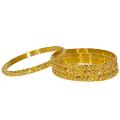 22K Yellow Gold Bangles Set of 4 W/ Detailed Hollow Dome, 43.5 gm