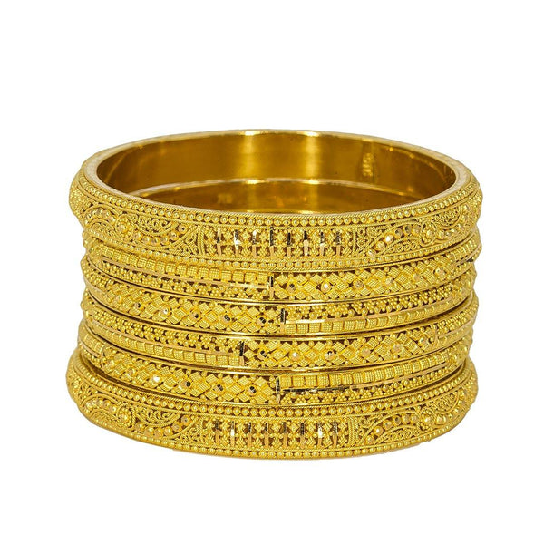22K Yellow Gold Bangles Set of 6 W/ Thick Band & Beaded Filigree, 94.7 gm | Add an element of class and elegance to your wardrobe with this set of six 22K gold bangles from ...