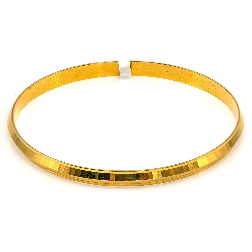 22K Yellow Gold Bangle for Kids W/ Slightly Faceted Frame |  22K Yellow Gold Bangle for Kids W/ Slightly Faceted Frame. This beautiful and smooth Slightly fa...