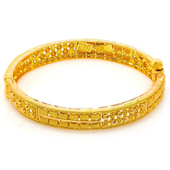 22K Yellow Gold Bangles for Kids Set 2 W/ Beaded Filigree & Nugget Details
