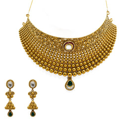 22K Yellow Gold Choker & Jhumki Earrings Set W/ Rubies, Emeralds, Kundan & Fanned Bead Ball Design