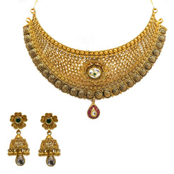 22K Yellow Gold Choker & Jhumki Earrings Set W/ Rubies, Emeralds, Kundan & Tear Drop Pendant
