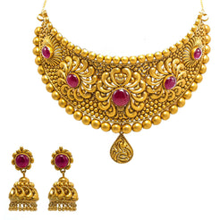 22K Yellow Gold Choker & Jhumki Earrings Set W/ Rubies & Matte Finished Flower Ball Design