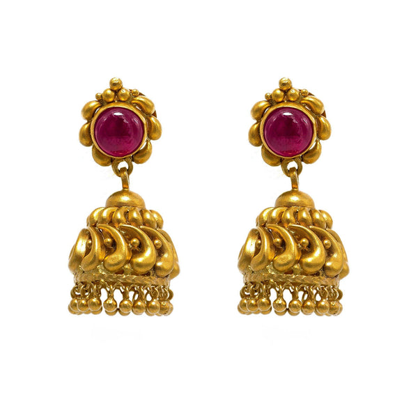 22K Yellow Gold Choker & Jhumki Earrings Set W/ Rubies & Matte Finished Flower Ball Design |  22K Yellow Gold Choker & Jhumki Earrings Set W/ Rubies & Matte Finished Flower Ball Desi...