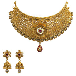 22K Yellow Gold Choker & Jhumki Earrings Set W/ Rubies, Kundan & Faceted Flower Decal