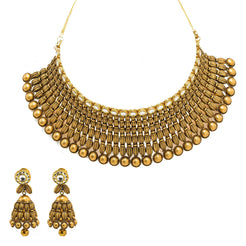 22K Yellow Gold Choker & Jhumki Drop Earrings Set W/ Kundan, Textured rondelle Beads & Gold Balls Accents