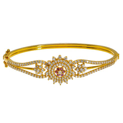 22K Yellow Gold Bangle W/ CZ Gems, Rubies & Open Flower Design