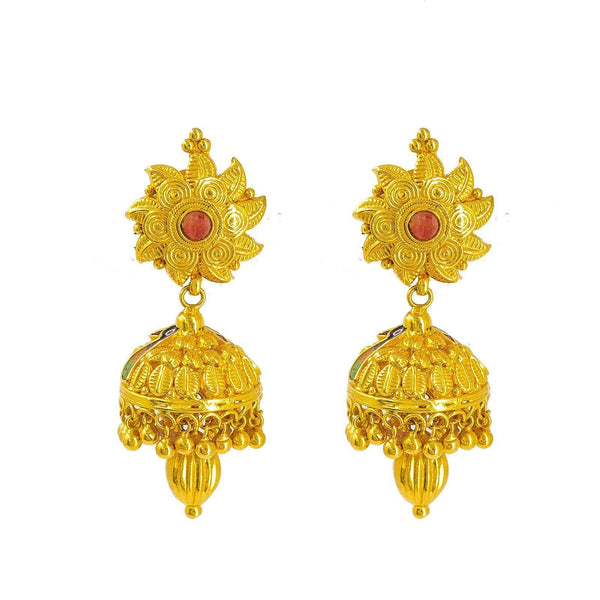 22K Yellow Gold Jhumki Drop Earrings W/ Accent Peacock Enamel Design & Oblong Ball Drop | 22K Yellow Gold Jhumki Drop Earrings W/ Accent Peacock Enamel Design & Oblong Ball Drop for w...