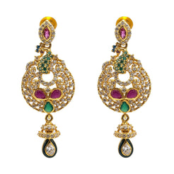 22K Yellow Gold Drop Earrings W/ Rubies, Emeralds, CZ Gems & Round Peacock Pendants