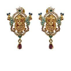 22K Yellow Gold Earrings W/ Emerald, Sapphires, CZ Gems & Laxmi Pendant