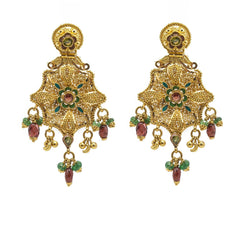 22K Yellow Gold Drop Earrings W/ Ruby, Emerald Gems & Spring Flower Pendant