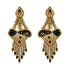 22K Yellow Gold Earrings W/ Hand Painted Peacock & Beaded Filigree on Tassel Pendant