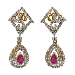 22K Yellow Gold Drop Earrings W/ Rubies, CZ Gems & Faceted Pear Pendant