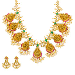22K Yellow Gold Guttapusalu Necklace & Earrings Set W/ Rubies, Emeralds, CZ Gems, Pearls & Laxmi Accents