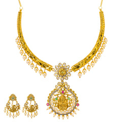 22K Yellow Gold Hasdi Paachi Necklace & Chandbali Earring Set W/ Rubies, Emeralds, CZ Gems & Pearls