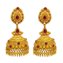 22K Yellow Gold Jumkhi Drop Earrings W/ Rubies & Draped Bead Ball Accents