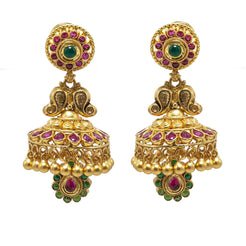 22K Yellow Gold JhumkiDrop Earrings W/ Rubies, Emeralds & Antique Finish Mango Details