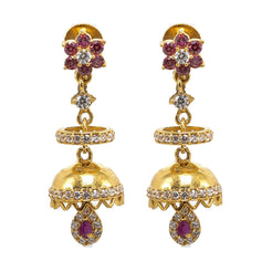 22K Yellow Gold JhumkiDrop Earrings W/ Rubies, CZ Gems & Centered Halo