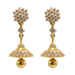 22K Yellow Gold JhumkiDrop Earrings W/ CZ Gems & Long Crsytalized Drops