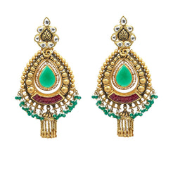 22K Yellow Gold JhumkiDrop Earrings W/ Rubies, Emeralds, Pearls, Kundan & Antique Finish Pendants