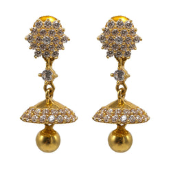 22K Yellow Gold JhumkiDrop Earrings W/ CZ Gems, Cluster Flower & Matte Finish