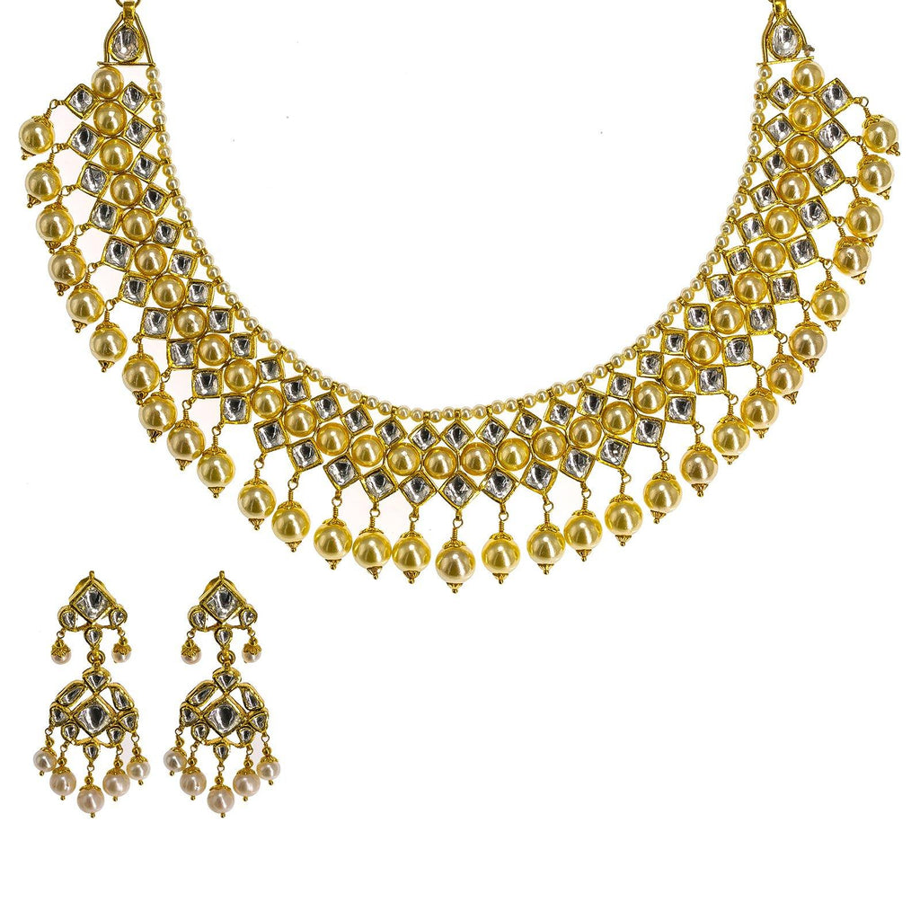22K Yellow Gold Kundan Necklace & Earrings Set W/ Hanging Pearls, 104.1g | 22K Yellow Gold Kundan Necklace & Earrings Set W/ Hanging Pearls,104.1g for women. This uniqu...