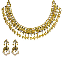 22K Yellow Gold Kundan Necklace & Earrings Set W/ Hanging Pearls, 104.1g - Virani Jewelers
