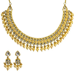 22K Yellow Gold Kundan Necklace & Earrings Set W/ Hanging Pearls, 97.1g