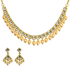 22K Yellow Gold Kundan Necklace & Earrings Set W/ Hanging Pearls, 59.1g - Virani Jewelers