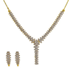 22K Yellow Gold Lariat Necklace & Earrings Set W/ CZ Gems & Huggie Earrings