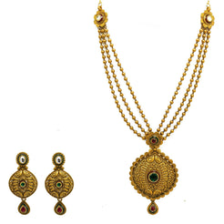 22K Yellow Gold Necklace & Earrings Set W/ Rubies, Emeralds, Kundan & Three Strand Beaded Necklace