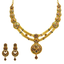 22K Yellow Gold Necklace & Earrings Set