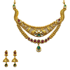 22K Yellow Gold Necklace & Jhumki Earrings Set W/ Rubies, Emeralds, Kundan & Double Collar Necklace