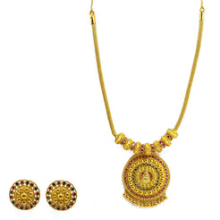 22K Yellow Gold Necklace & Earrings Set W/ Rubies, Emeralds & Round Beaded Laxmi Pendants