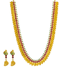 22K Yellow Gold Necklace & Earrings Mango Set W/ Rubies, Emeralds, CZ Gems & Laxmi Accents
