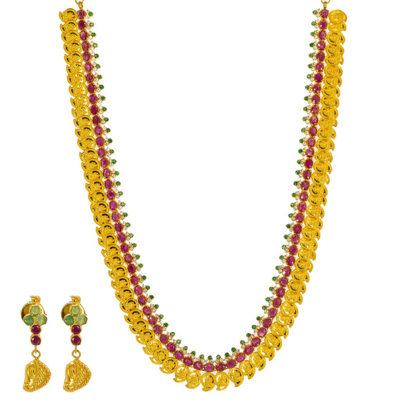 22K Yellow Gold Necklace & Earrings Mango Set W/ Rubies, Emeralds, CZ Gems & Laxmi Accents - Virani Jewelers | Be brilliantly present with this most stunning 22K yellow gold necklace and earrings mango set fr...