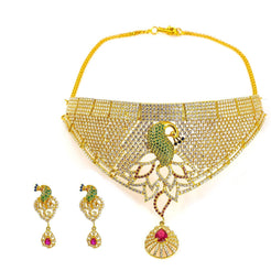 22K Yellow Gold Necklace and Earrings Set W/ Multi Color CZ Encrusted Cascade Bib Frame