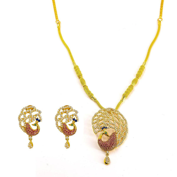 22K Yellow Gold Necklace and Earrings Set W/ Multi Color CZ Peacock on Double Texture Foxtail Chain |  22K Yellow Gold Necklace and Earrings Set W/ Multi Color CZ Peacock on Double Texture Foxtail Ch...