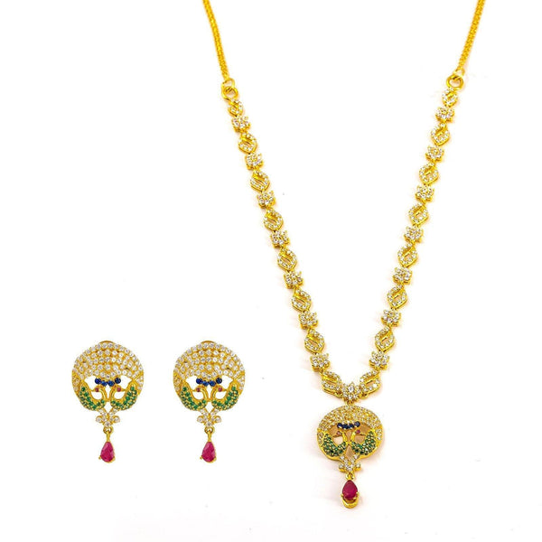 22K Yellow Gold Necklace and Earrings Set W/ Rubies, CZ Encrusted Peacock Pendant & Jeweled Charm Chain |  22K Yellow Gold Necklace and Earrings Set W/ Rubies, CZ Encrusted Peacock Pendant & Jeweled ...