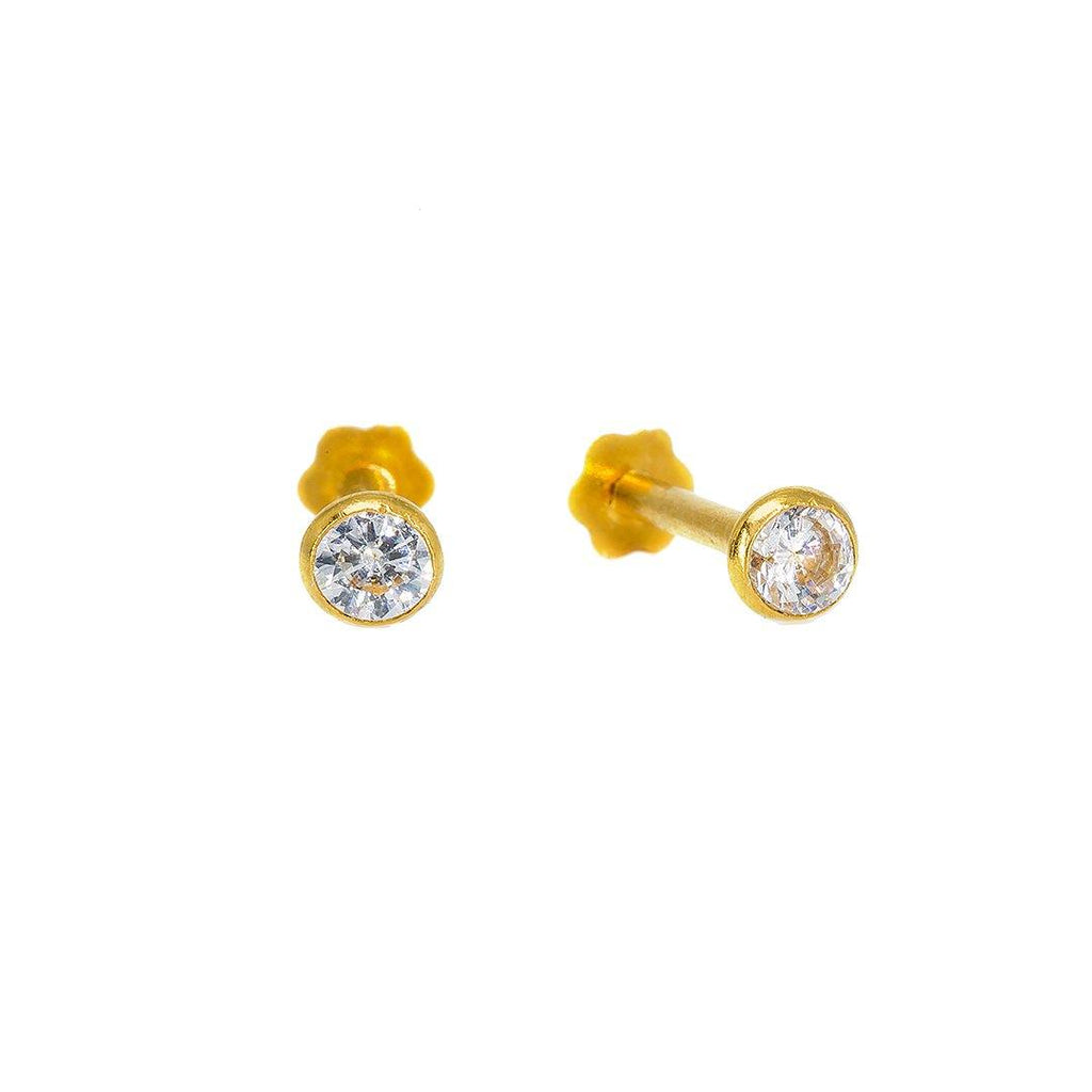 22K Yellow Gold Nose Pin W/ Bezel Set Precious Cubic Zirconia - Virani Jewelers | Add a minimal touch of brilliance to your finished look with this set of 22K yellow gold nose pin...