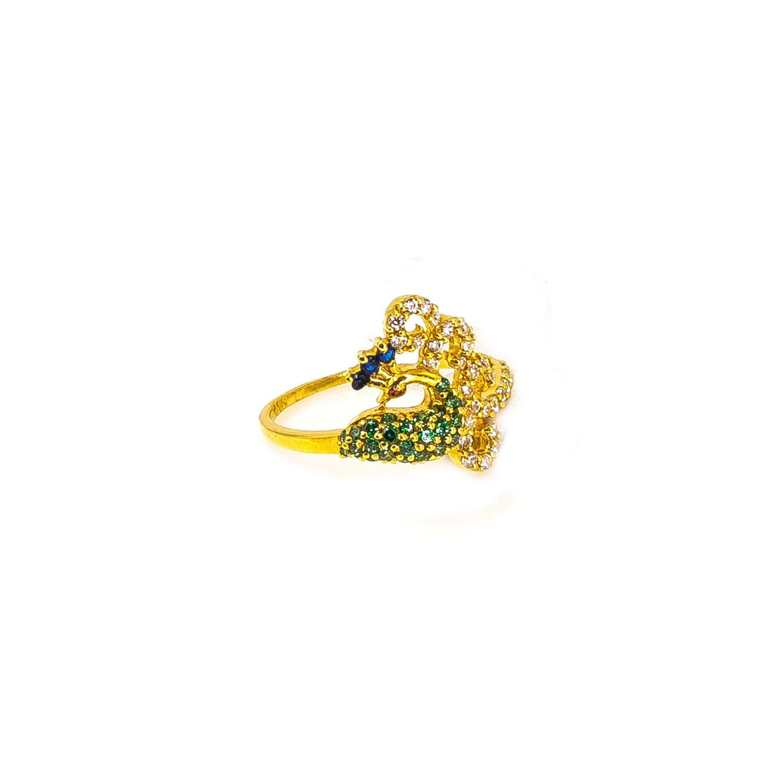 22k Yellow Gold Peacock Ring W Blue Cubic Zirconia Crest Side Swept Virani Jewelers