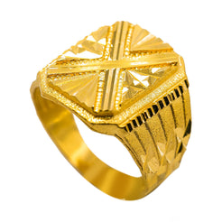 "22K Yellow Gold Men's Signet Ring W/ Etched ""X"" Design"