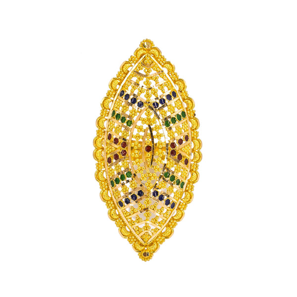 22K Yellow Gold Ring W/ Enamel Details & Marquise Shield | Add unique details to your special attire with this beautiful 22K yellow gold ring from Virani Je...