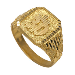 22K Yellow Gold Signet Ring for Men W/ Om Symbol, Gritty Frame & Rock Bed Design Band