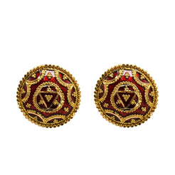 22K Yellow Gold Stud Earrings W/ Red Hand Painted Finish & Royal Emblem Design